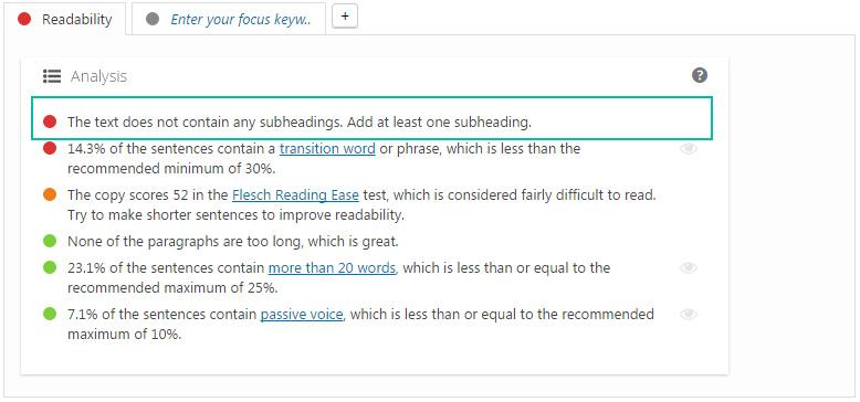 子标题提升SEO可读性Readability